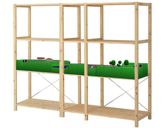 ikea ivar regal modellbahnanlage in spur n. Black Bedroom Furniture Sets. Home Design Ideas